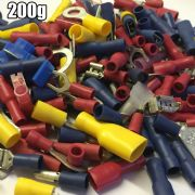 200g ASSORTED JOB LOT ELECTRICAL TERMINAL BAG  RED BLUE YELLOW CABLE CONNECTORS